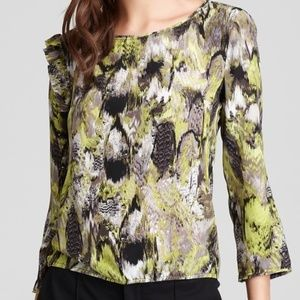 BCBG Maxazria Elma Side Drape 100% Silk Top Blouse